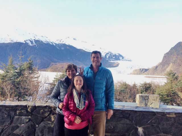 The Bell Family at Mendenhall Glacier: Nancy, Courtney and Dr. Ty Bell
